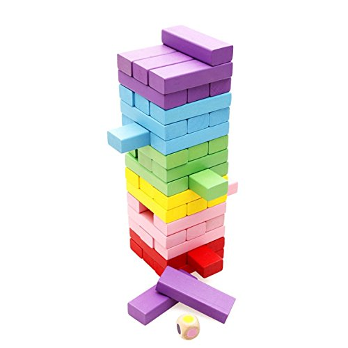 WONZOM ジェンガ レインボー アンバランス 木製 ボードゲーム ブロック タワーゲーム