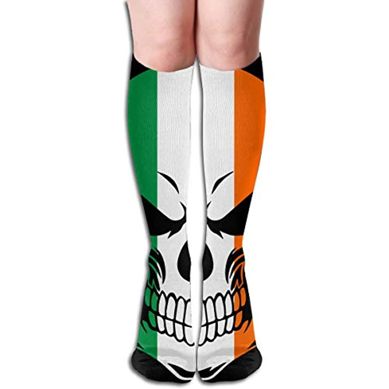 意識的古代脚本クルーザーユニセックスカラフルドレスソックス、アイルランドアイルランド国旗クール頭蓋骨、冬ソフトコージー暖かい靴下かわいい面白いクルーコットンソックス1パック
