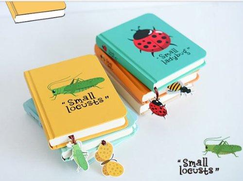 かわいい 昆虫 イラスト 硬表紙ノート お揃い ブックマーク付き (バッタ)