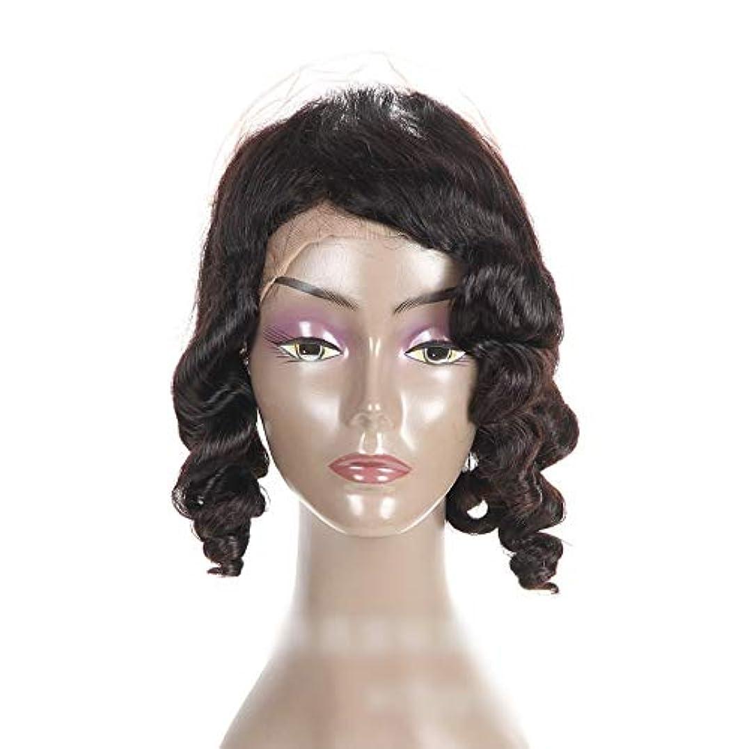 オーブンセンブランス糞JULYTER 360前頭人間の髪の毛が付いていない波巻き毛のエクステンションレース前頭かつら女性のようなブラックカラー(8