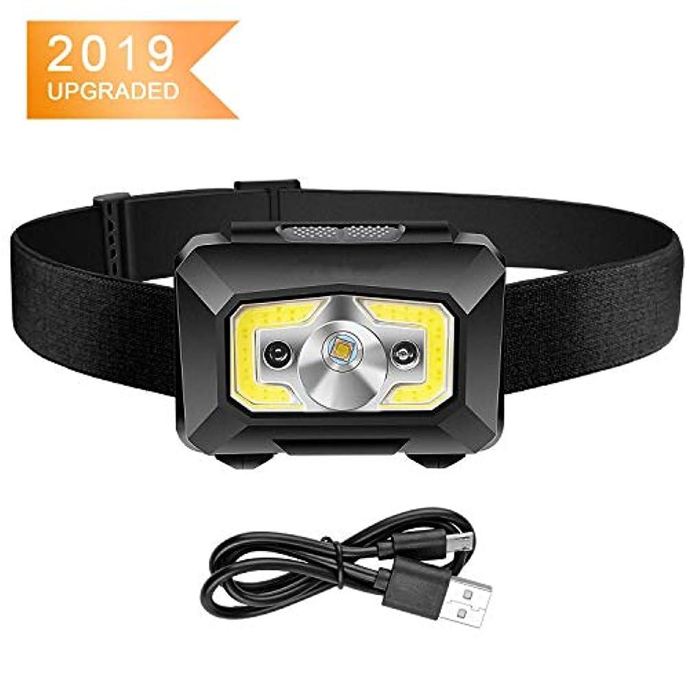 充電式ヘッドランプ、モーションセンサー付き超高輝度LED + COBヘッドライト懐中電灯、ランニング用防水5ライトモードIPX6、読書、バイキング、釣りなどアウトドア、調節可能なヘッドバンド
