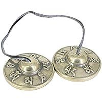 Perfk 1ペア シンバルベル ハンドパーカッション 瞑想 ヨガ アクセサリー 全2材質選べる - 白銅