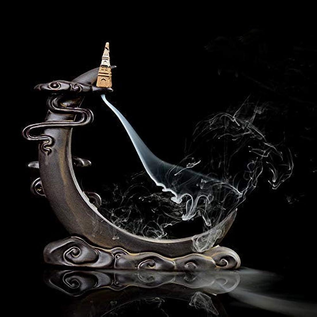 レディ社説マーカーPHILOGOD 陶器香炉 月の形逆流香 倒流香仏壇用香置物 香立て