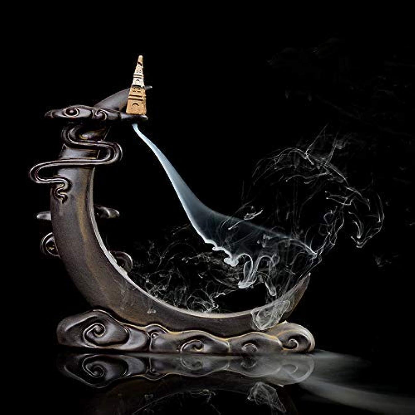 フィットネス気楽な地区PHILOGOD 陶器香炉 月の形逆流香 倒流香仏壇用香置物 香立て