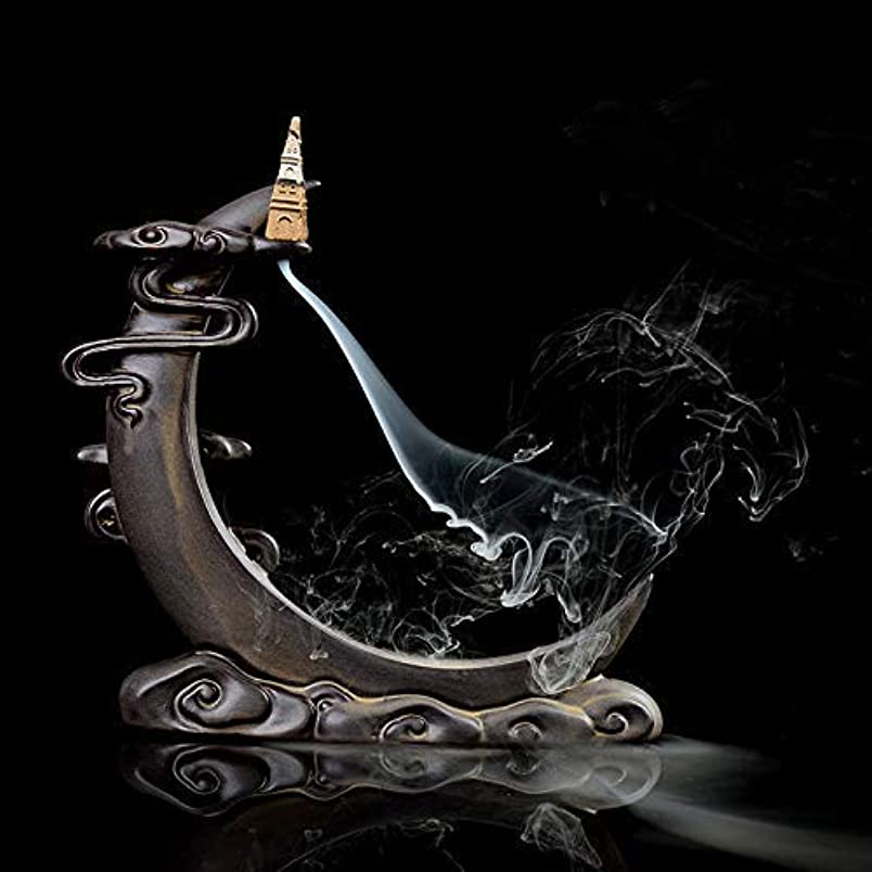 悲劇血色の良いあえぎPHILOGOD 陶器香炉 月の形逆流香 倒流香仏壇用香置物 香立て