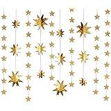 4本 星の組み合わせ ガーランド 金色 五角星?八角星 吊り上げ 誕生日 結婚式 飾り付け デコレーション