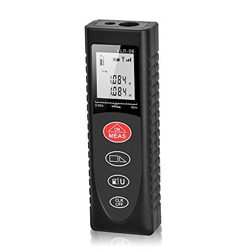 レーザー距離計 レーザー距離測定器 携帯型レーザー距離計 最大測定距離60m 精密な±2mmの測定精度 作業に応じて多種類測定可能なレーザー距離計 自動計算・修正機能搭載 適切な測定基準に変更可能 優れた防水防塵性能付き ミニタイプでどこに持っても便利