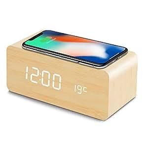 置き時計 QIワイヤレス充電機能 目覚まし時計 アラームクロック USB給電 android iphone 充電器 iPhone8以上対応 音声感知 Fomobest カレンダー付き 温度計 時間記憶 省エネ 明るさ調節 日本語説明書付き (ベージュ)