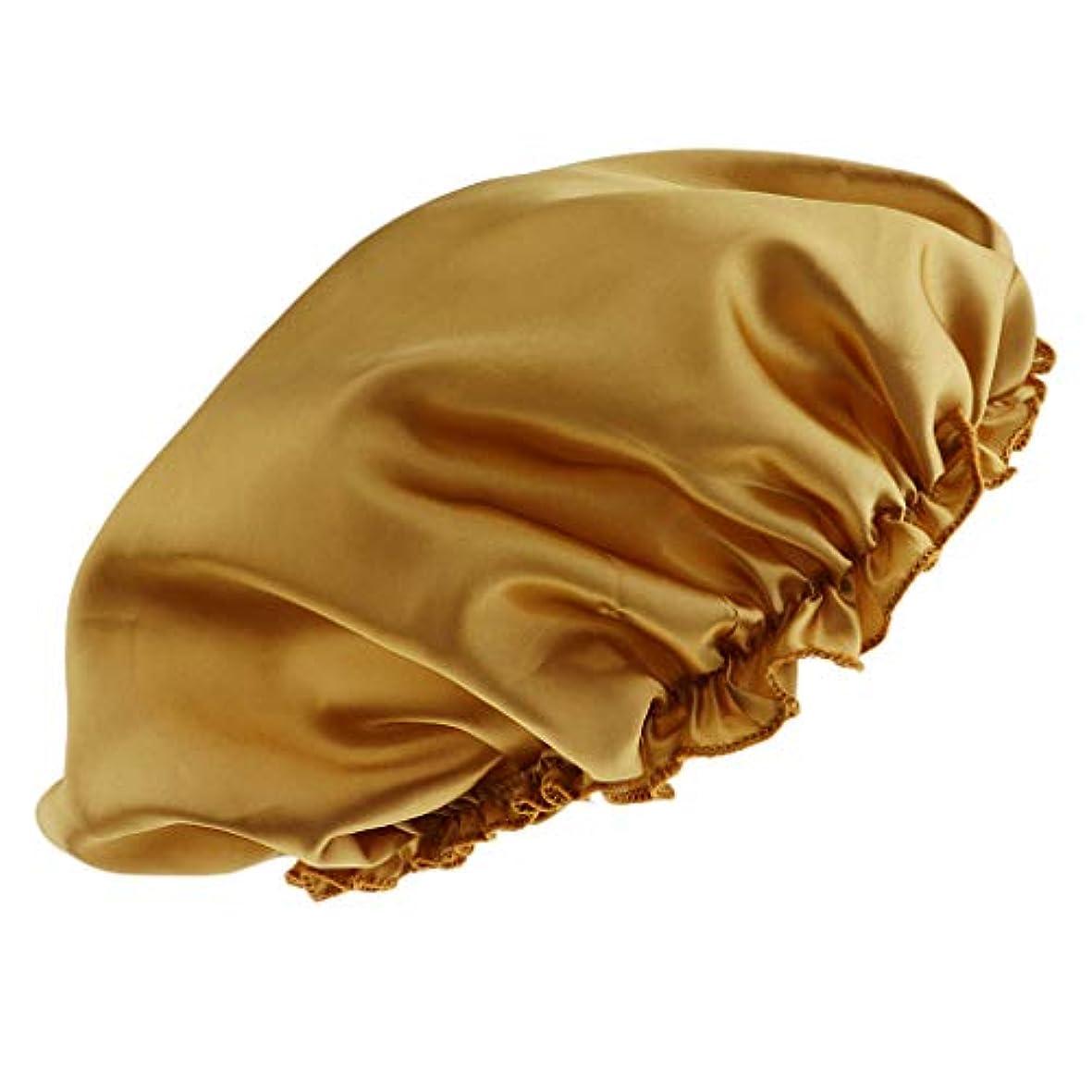 ドループ罹患率微妙シャワーキャップ シルクサテンキャップ シルクサテン帽子 美容ヘッドカバー 浴用帽子 全8色 - ゴールド