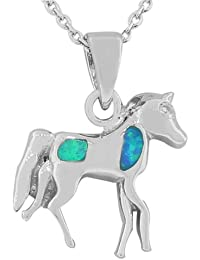 925 Sterling Silver Blue Turquoise-Tone Simulated Opal Pony Horse Pendant Necklace