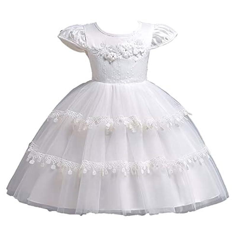 名前で広く発表白い女の赤ちゃんの花刺繍ケーキバブルスカート子供半袖ワンピースドレスパーティードレス-ホワイト-90cm