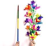 【手品 マジック】四つ色のある虹色の棒が大きい花束に変わる ステッキが花になる 21輪 魔法の棒が花束に変身 舞台用マジック道具 手品道具