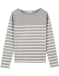 [神戸レタス] コットン100% シンプルボーダーカットソー [C1729] 長袖 Tシャツ レディース