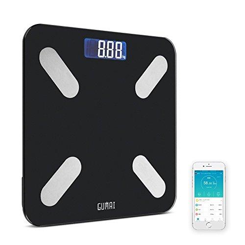 GuMai 体重·体組成計·体脂肪計 スマートスケール カラダスキャン BMI測定 ダィエット スマホBluetooth対応 どこでもチェック 小型シンプルデザイン 0.05Kg精度 180Kg計量(ブラック FG263)