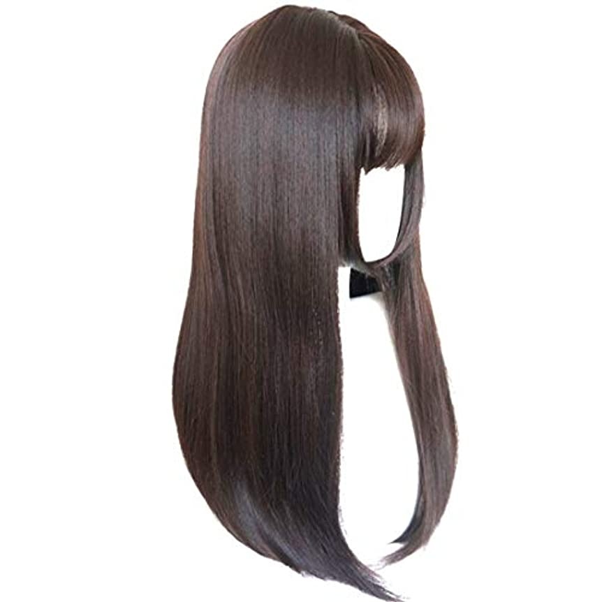 薄いうがい薬容器Kerwinner かつら完全なかつら女性のための耐熱性耐熱性でかつらストレートロング人工毛