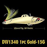Cjxパワーアダプタ フェザー2色メタルベイト釣りと1PC鉛筆-VIB釣りルアー7センチメートル-8センチメートル/ 15グラム、20グラムベースベイト6#高炭素フックタックル (色 : 15G Gold)