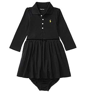 [POLO RALPH LAUREN (ポロラルフローレン)] ビロードリボン コットンポロドレス&ブルマ ベビー 女の子 ブラック 90cm (24ヶ月) [並行輸入品]