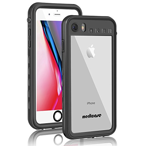 Merit iPhone7 防水ケース iPhone8 防水ケース リング付き スタンド機能 防水カバー 改良版 防塵 耐衝撃 アイフォン7 防水ケース (黑-4.7)