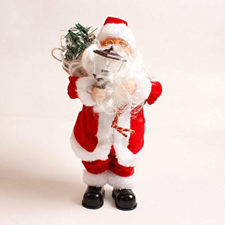 サンタクロース人形、hmaneサンタクロース図クリスマス装飾電動音楽人形with音楽とライトエフェクト(ランプタイプ) – レッド+ホワイト