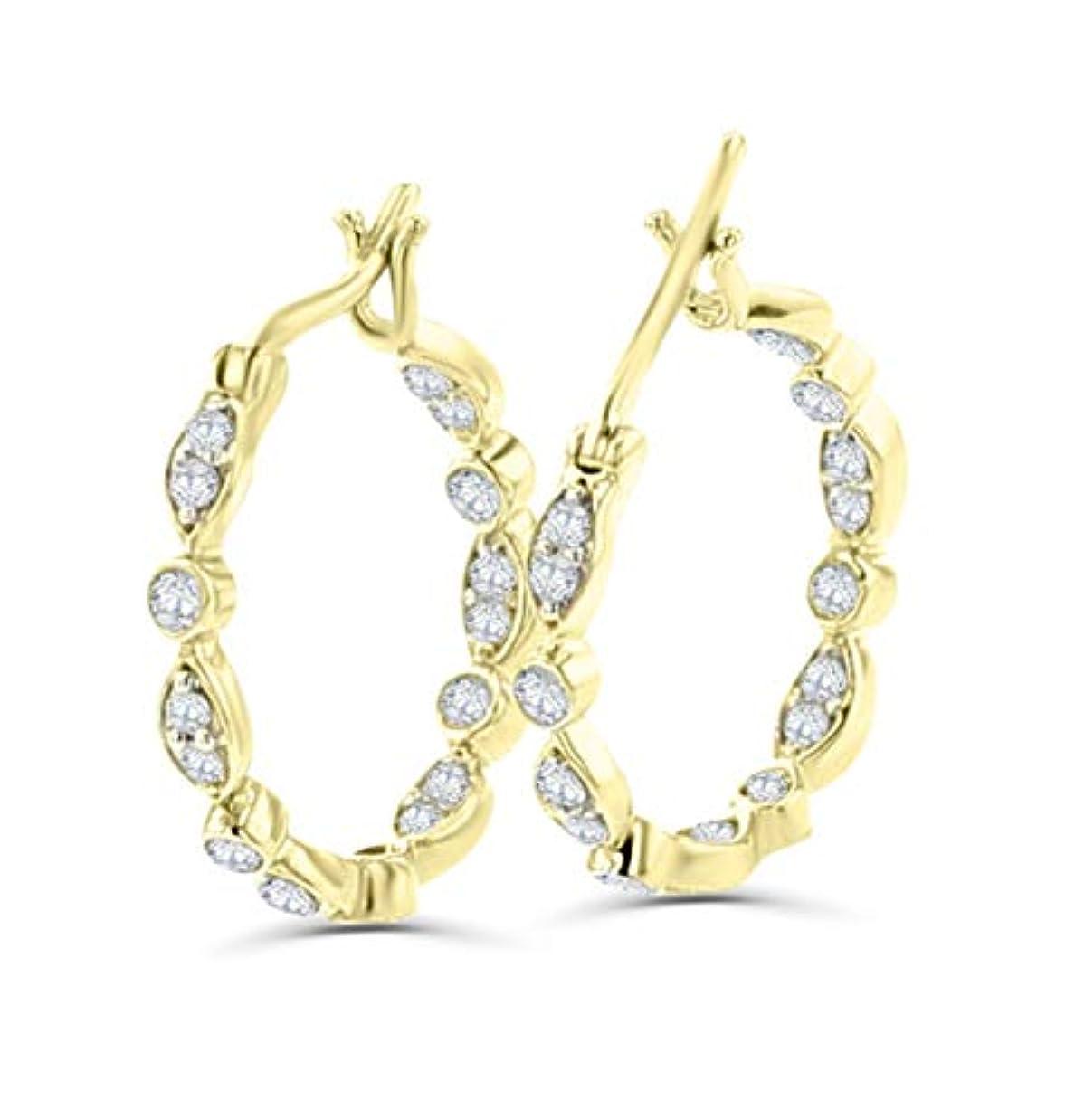 カラス豪華な経済14K ゴールド フープピアス 1/4カラット ダイヤモンド ラウンドパヴェ ダイヤモンド 内外 17mm