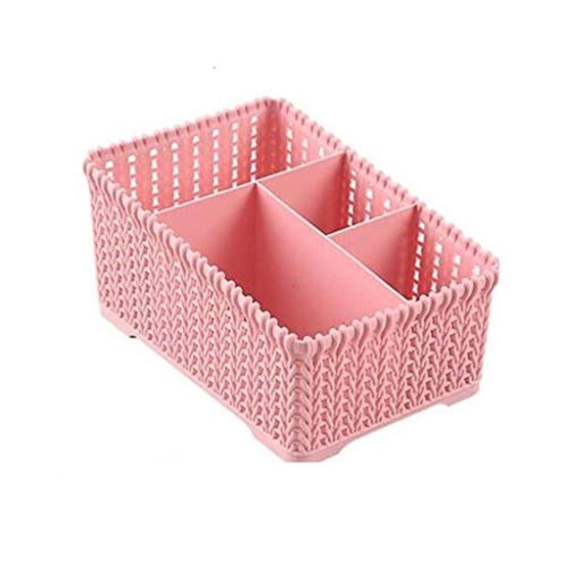 フットボール貧困質素なプラスチックデスクトップ収納ボックスコンパートメント籐オフィスデブリ収納化粧品ラック (Color : Pink)