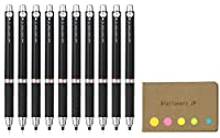 UNI - BALL Kurutoga Mechanical Pencil Rubber Grip , 0.5MM ,ブラックボディ、10枚パック、付箋値設定