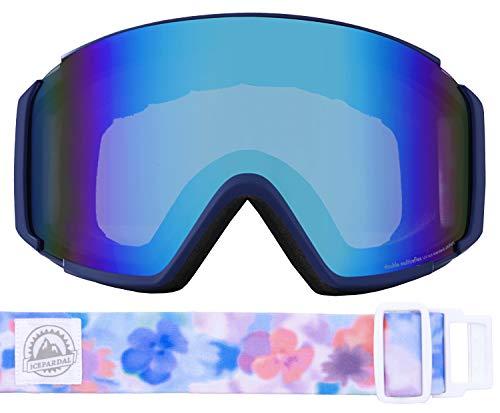 ICEPARDAL(アイスパーダル) スノーボード ゴーグル フレームレス レディース 平面ワイドレンズ 曇り止め ダブルレンズ 簡単脱着 UVカット99 IBP-892H ネイビー/フラワーP(B) FREEサイズ スキーゴーグル スキー スノーゴーグル
