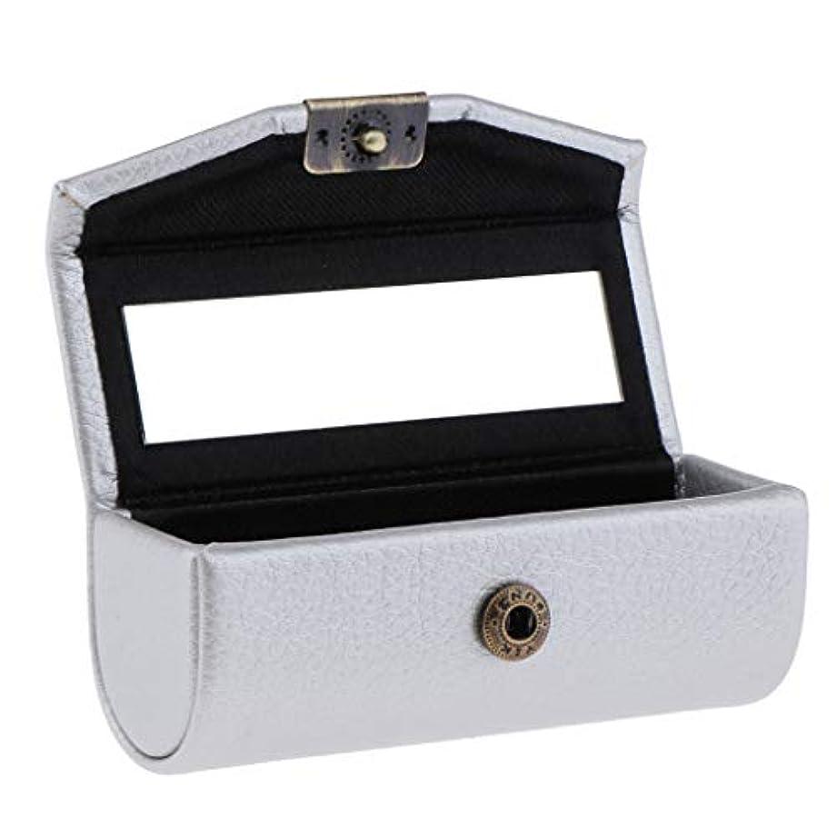 浜辺喪静けさ口紅ケース 携帯 口紅ホルダー レザー リップスティック ミラー 収納ボックス 多仕様選べ - 銀