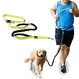 犬 リード ハンズフリーリードセット ペット用品 ウエストリード 犬用 ジョギング ランニング 訓練 犬用リード 丈夫 調節可能 腰ベルト 反射素材 (イエロー)