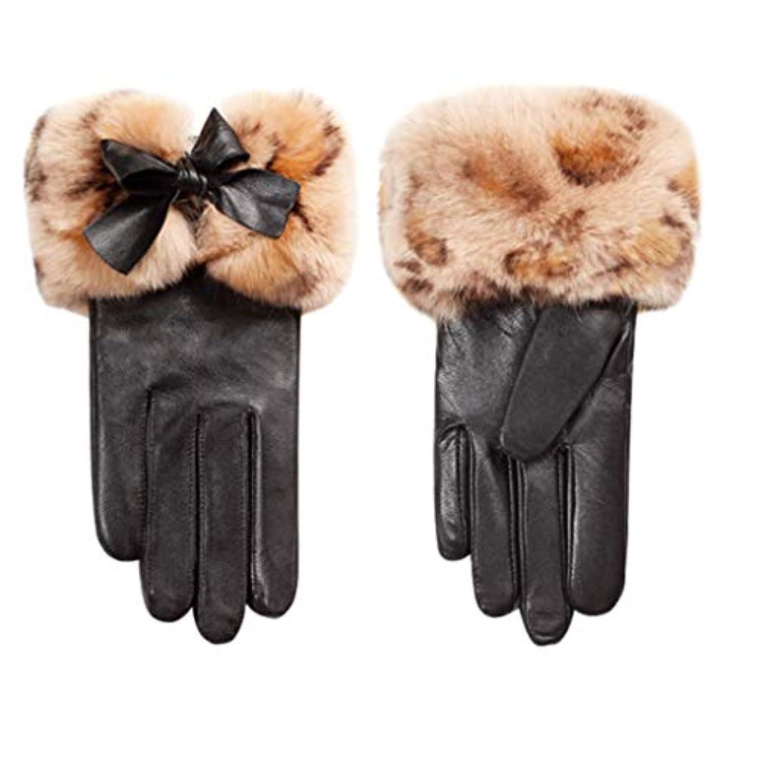 氏カレンダーテレビ手袋女性の冬プラスベルベット厚い暖かい韓国のかわいい乗り物運転屋外防風レディース革手袋N2E8X81452黒M