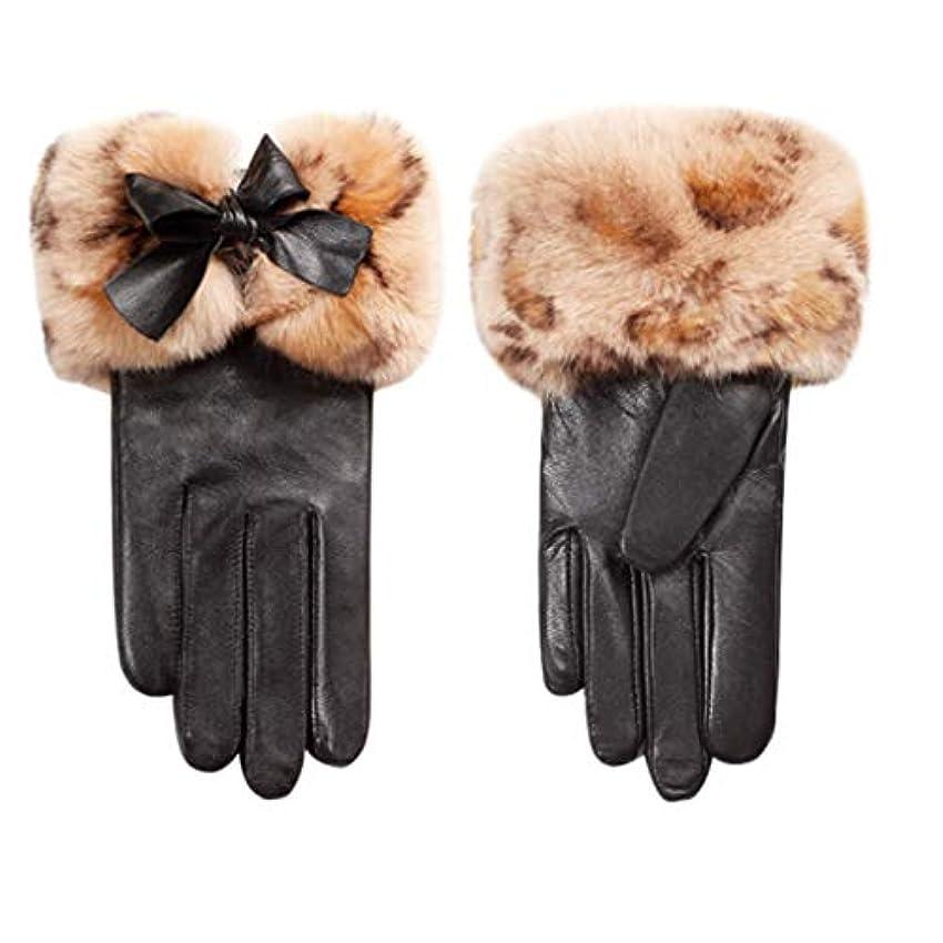 発症いま姪手袋女性の冬プラスベルベット厚い暖かい韓国のかわいい乗り物運転屋外防風レディース革手袋N2E8X81452黒M