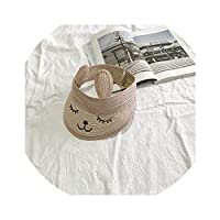 子供の麦わら帽子新しい屋外野生のシルクハットストリート潮の帽子刺繍クマの赤ちゃんの帽子日焼け防止日焼け防止帽,空のシルクハットの刺繍入りパウダー,こども(47〜52cm)