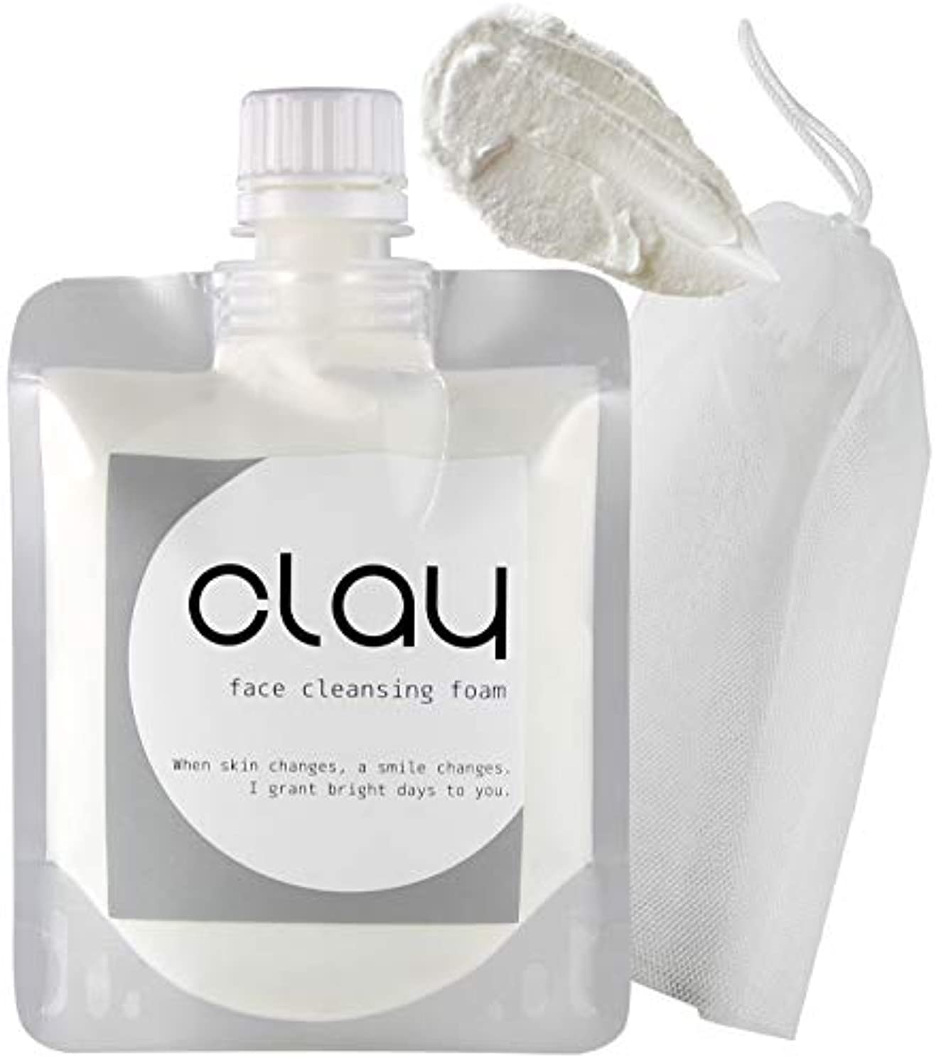 皿機転ペグSTAR'S クレイ 泥 洗顔 オーガニック 【 毛穴 黒ずみ 開き ザラ付き 用】「 泡 ネット 付き」 40種類の植物エキス 16種類の美容成分 9つの無添加 透明感 柔肌 130g (Clay)