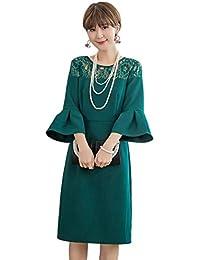 5c7d1fa62a6ab ACUX(エックス) 結婚式 ドレス 袖あり 秋冬 レース パーティードレス フォーマル ワンピース フレア