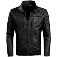 Allegra K Men Casual Classic Zip up Moto Motorcycle Pu Imitation Leather Jacket