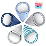 Yissvic Baby Bibs Burp Cloths Absorbent Cotton Scarves with Snaps Best Gift for Newborn Baby and Toddler 5 Pack Bandanas Sets