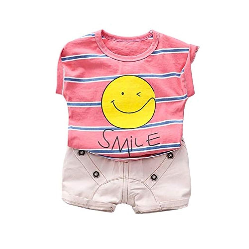 ルート乏しい見かけ上Rad子供 夏子供赤ちゃん男の子カジュアルノースリーブ漫画笑顔プリントベストトップス+ショーツスーツコスチュームセット