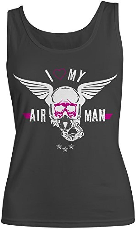 に向けて出発選挙ベリーI Love My Airman Pilot レディース Tank Top Sleeveless Shirt