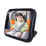 MinnGuYa ベビーミラー 後部座席 赤ちゃん ミラー 車 ミラー360度調節可能 方向調節可能 安全帯&バックル付 環境保護 破片飛散防止品質保証 ブラック