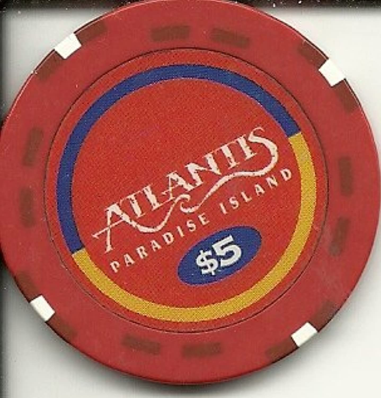 $ 5 Atlantis Paradise Island Obsoleteヴィンテージカジノチップ