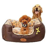 Pet Empire Zone 犬のベッド大型犬小屋カラー足プリントコーラルペット夫ペット大型犬小屋 (Color : ブラウン, サイズ : M)