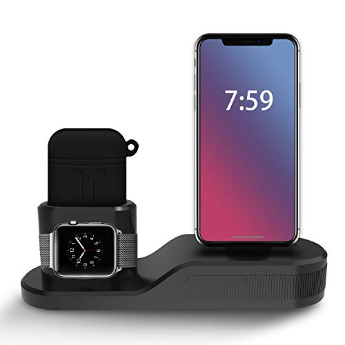 Apple watch スタンド AirPodsホルダー iphone 充電スタンド 3in1 卓上スタンド アップルウォッチ シリーズ 2 シリーズ1 iPhone X iphone 8 iphone 7 に対応 ( AirPodsケース付き )