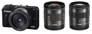 Canon ミラーレス一眼カメラ EOS M2 トリプルレンズキット(ブラック) EF-M18-55mm F3.5-5.6 IS STM EF-M22mm F2 STM EF-M11-22mm F4-5.6 IS STM付属 EOSM2BK-TLK