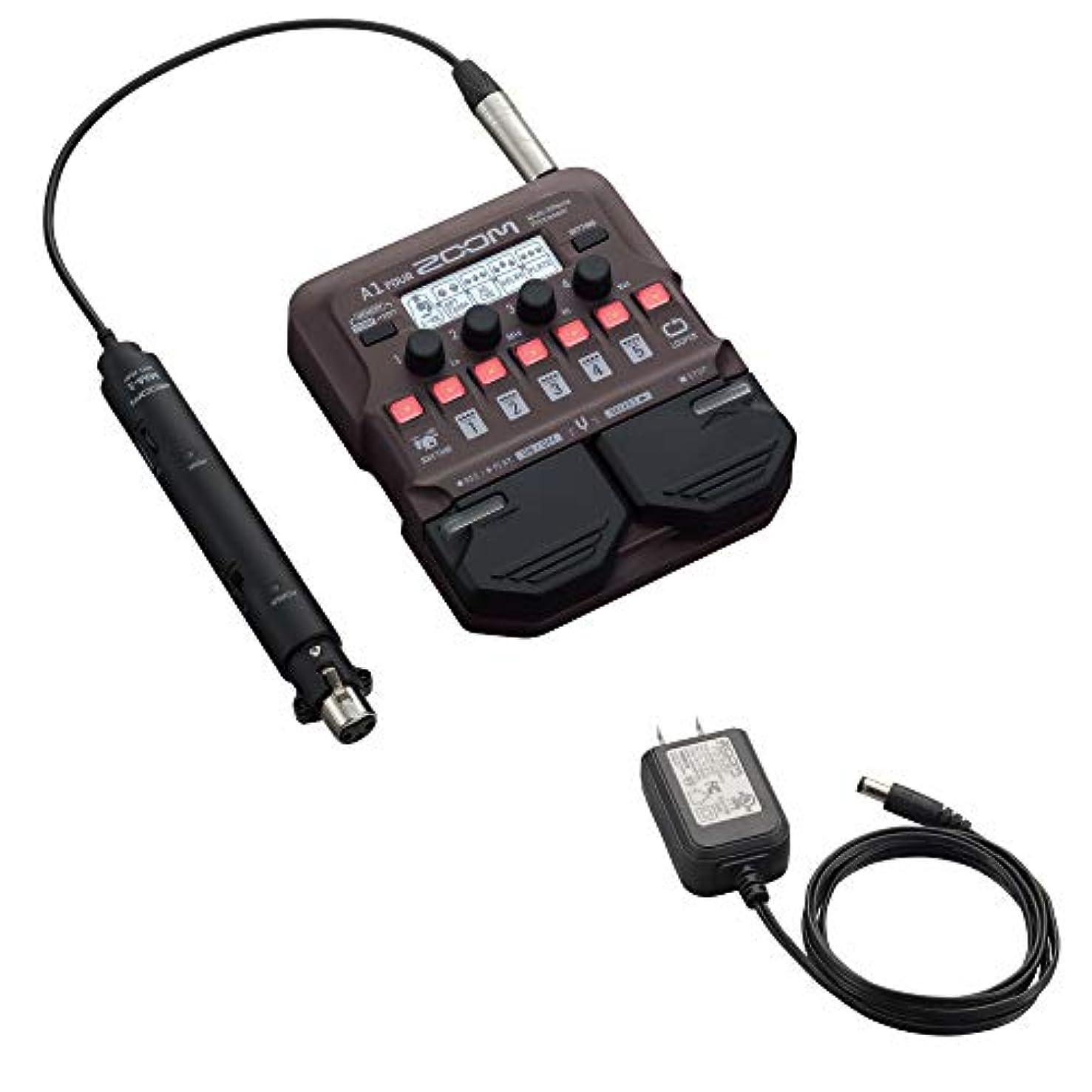 スーツケース眠る顕著ZOOM A1 FOUR アコースティック楽器用 マルチエフェクター 純正アダプター付きセット