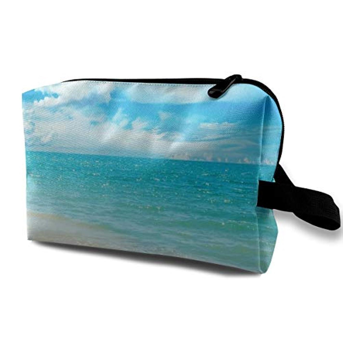 それにもかかわらず高価な誠実Blue Sky And Sea 収納ポーチ 化粧ポーチ 大容量 軽量 耐久性 ハンドル付持ち運び便利。入れ 自宅?出張?旅行?アウトドア撮影などに対応。メンズ レディース トラベルグッズ