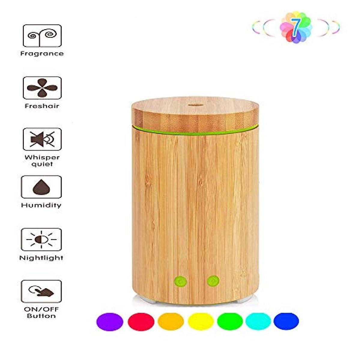 非アクティブささやき窒素160ミリリットル芳香ディフューザー加湿器、アロマセラピーエッセンシャルオイルディフューザー、7色LEDナイトライト、水なし自動シャットダウン