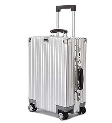 ビルガセ(Vilgazz) スーツケース アルミ・マグネシウム合金ボディ 軽量 キャリーケース 機内持込 キャリーバッグ 頑丈 TSAロック付き 静音 小型 大容量 ビジネス 旅行出張 1年保証 シルバー Silvery Sサイズ 約37L