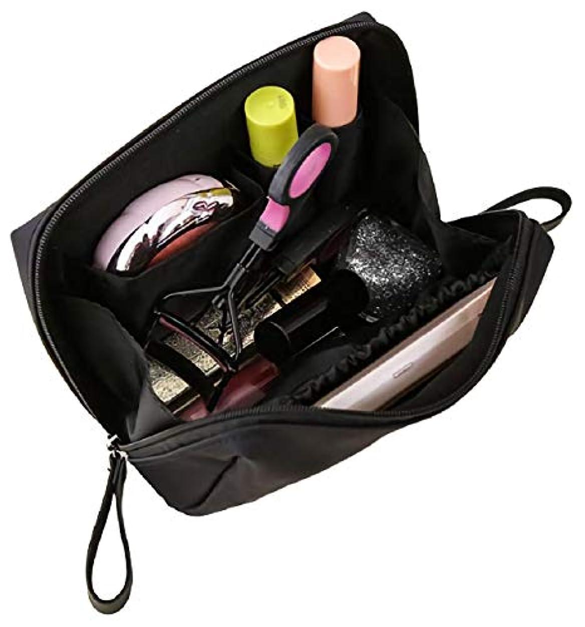 旅客設計未亡人[ウレギッシュ] 化粧ポーチ コンパクト メイクポーチ 化粧品 化粧道具 収納 バッグ (ブラック)