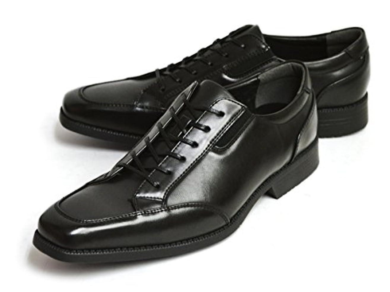 トランペット交通渋滞ペイントTAKEZO(タケゾー) ビジネスシューズ 幅広 3EEE コンフォートシューズ サイドゴア スクエアトゥ 紳士靴 防滑 靴 メンズ