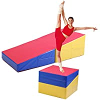 jaxpety Large Folding体操Inclineマットウェッジランプスキル形状三角形タンブルマット